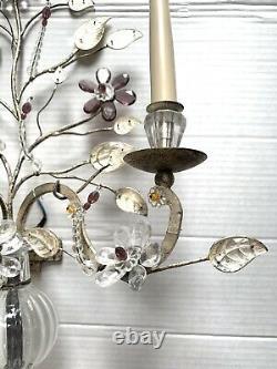 Vintage Français Maison Paire Cristal Bagues Vermeil Fer Urne Sconces Mur