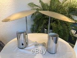 Vintage George Nelson Half Nelson Paire De Lampes Chromées Pour Koch & Lowy Midcentury