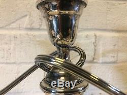 Vintage Gorham Silverplate Paire De Colonial 3 Partie Candélabres #yc 3032