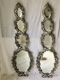 Vintage Hollywood Regency Rococo Miroirs Muraux À Feuilles D'argent Brûlés, Une Paire