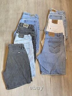 Vintage Homme Levis Argent & Orange Tab Denim Short Lot De 7 Paires Différentes Tailles