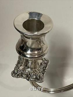 Vintage International Silver Company Candelabra 3 Bras Paire Candle Holder 9.5