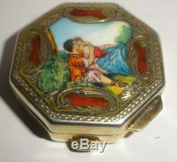 Vintage Italian 800 Pilulier Snuff Argent Émail Guilloché Couple Amour Lavage D'or