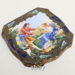 Vintage Italien 800 Argent & Turquoise Enamel Courting Couple Compact