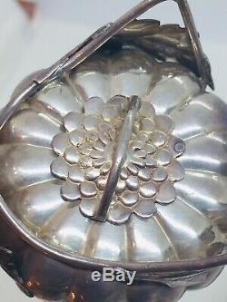 Vintage Japonais Paire 950 En Argent Sterling Chrysanthème Salt & Pepper Shakers