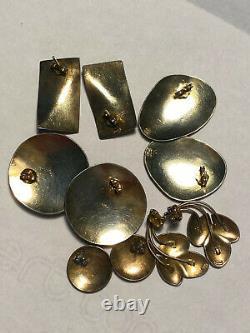 Vintage Laurel Burch Sterling Silver & Enamel Boucles D'oreilles Percées, 5 Paires