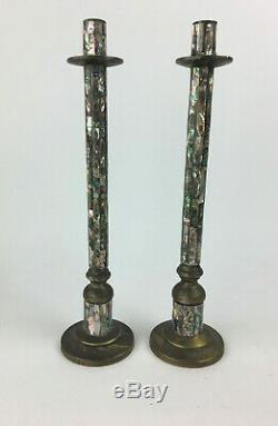 Vintage Los Castillo Du Mexique Plaque Argent Mosaic Shell Grand Candlestick Paire MCM