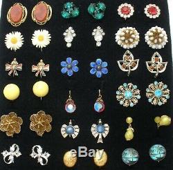 Vintage Lot 18 Paire De Boucles D'oreilles Strass Sterling Fond À Écrous D'argent En Émail