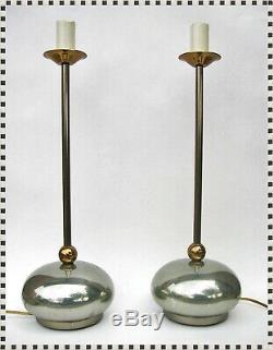 Vintage MID Century Modern Atomique Orb Métal Retro Lamp Pair (2)