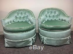 Vintage MID Century Moderne MCM Argent Artisanat Vert Des Chaises En Velours Paire