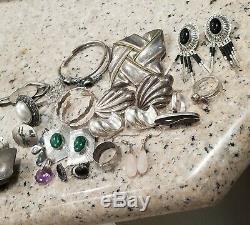 Vintage Mexique En Argent Sterling 9 Paires De Boucles D'oreilles En Jade 5 Bagues 2 Collier Lot