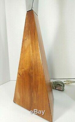 Vintage Milieu Du Siècle Style Moderne Bois Et Argent Teintée Lampes 1 Pair Pour Table