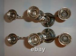 Vintage Mueck Carey Royal Rose Sterling Paire 3 Branches Convertible Candelabra