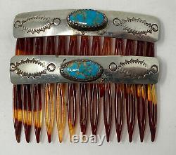 Vintage Navajo Southwestern Sterling Silver Turquoise Paire De Peignes À Cheveux Estampés
