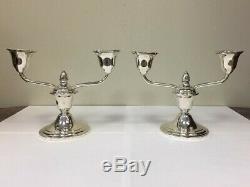 Vintage Newport Paire De Argent Sterling Candlestick Candélabres 16213