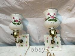 Vintage Painted Milk Glass Wall Sconce Ornate Vanity Light Paire