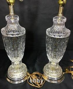 Vintage Pair Crystal Clear Glass Electric Table Lamps 20 Brass Silver Tone Base