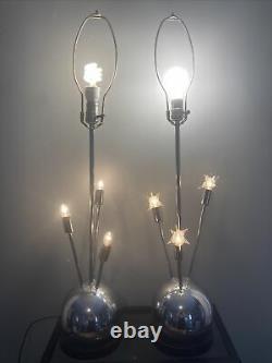 Vintage Paire (2) MID Century Modern Spoutnik Atomic Ball Orb Chrome Lampes De Table