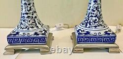 Vintage Paire Bombay Porcelaine Chinoise Bleu Et Blanc Buffet Lampe De Table 26