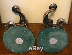 Vintage Paire Bougeoirs Anthony Redmile London Ram Horns, En Argent Marqué