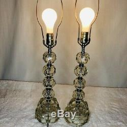 Vintage Paire Cristal Lampes De Table Argent Accents Milieu Du Siècle Moderne High End 19