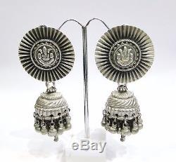 Vintage Paire De Boucles D'oreille De Bijoux En Argent Anciens Anciens Tribus Ethniques Rajasthan Inde