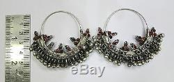 Vintage Paire De Boucles D'oreilles De Bijoux En Argent Anciens Tribus Ethniques Anciennes Rajasthan Inde