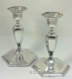 Vintage Paire De Bougeoirs En Argent Sterling Poinçonnés (12,5 CM De Haut) 1958