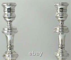 Vintage Paire De Poinçonnés En Argent Sterling Bougeoirs (¾ 6 De Haut) 1977