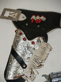 Vintage Paire De Roy Rogers Kilgore Toy Cap Gun Avec Silver Double Holster