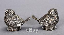 Vintage Paire En Argent Sterling Sel Et Poivrière Sparrow Oiseaux Motif 1,82 Ozt
