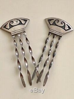 Vintage Paire Indien Hopi D'argent Piques À Cheveux Ornement Amérindien Signé