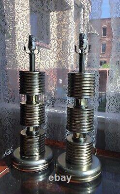Vintage Paire Laiton / Argenté Lampes De Table 23.5 Tall MID Century Lourd Vgc