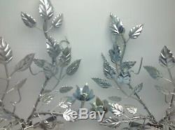 Vintage Paire Mur En Métal Sconce Italienne Hollywood Regency 2 Bougie Silver Leaf