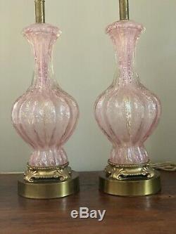 Vintage Paire Murano Barovier & Toso Rose Argent Fleck Table De Chevet En Verre Lampes