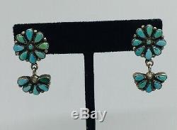 Vintage Paire Navajo En Argent Sterling Bleu Turquoise Dangle Boucles D'oreilles