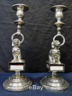 Vintage Paire Plaque D'argent Américain Figural Bougeoirs / Porte Boîte D'allumettes