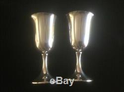 Vintage Paire Preisner En Argent Sterling Gobelets Marqué 6 3/4 Grand Non Mono