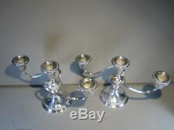 Vintage Paire Sterling Gorham Candelabra 3 Lumières Bougeoirs # 667