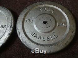 Vintage Paire York 100 Lb Barbell Poids 1 Std Double Face Plaques Argent