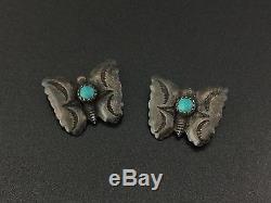 Vintage Petite Sud-ouest Turquoise En Argent Sterling Papillon Broche Paire