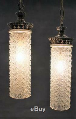 Vintage Pr Cornell Verre Cristal Cylindre Et Métal Argenté Salle Lampes Suspendues