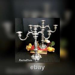 Vintage Reed & Barton Candelabras Plaqué Argent #741 Paire Baroque Victorienne