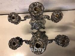 Vintage Reed & Barton Paire De Silverplate 3 Holder Candelbara Renaissance #800