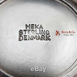 Vintage Sel Plats Paire Shaker Violet Émail Sterling Meka Danemark 1950