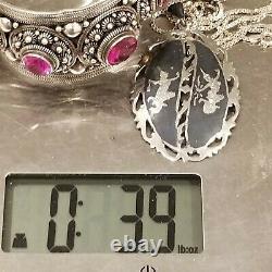 Vintage Siam Niello Sterling Silver 925 4 Paires Boucles D'oreilles 1 Bracelet 1 Collier