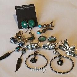Vintage Sterling Silver 9 Paires De Navajo Turquoise Lapis Coral Mop Onyx Pierce