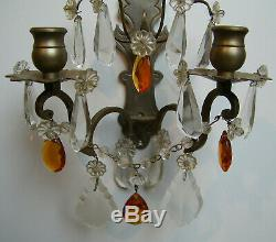Vintage Transparent Amber Crystal Prismes Paire Wall Bougeoirs Appliques Ton Argent