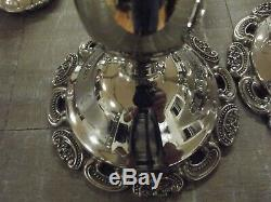 Vintage Wallace Silversmith Grand Baroque Paire De Candélabres En Plaqué Argent