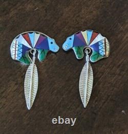 Vintage Zuni Native American Sterling Silver Multi-stone Bear Boucles D'oreilles Paire